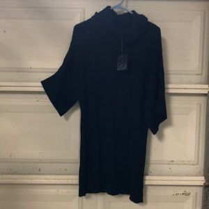 Long cowl neck sweater 3/4 sleeves black